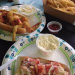 Deep fried lobster roll and traditional lobster roll (small) with fries and two sodas for $45