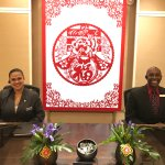 A Chinese New Year's Decoration (Nikki and Manager Gary posing)