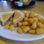 Grilled Ham & Cheese with tater tots
