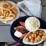 Steak, shrimp, slaw and french fries