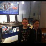 My grandson and his friend at the Titanic expo .