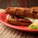 the WAFFICH!  Cottage bacon, cheese & two FF eggs sandwiched between our fabulous Belgium waffle