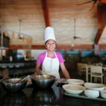 Cooking with chef activity for the kids offered by the resort