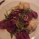 Beet root Salad with fig mustard baked goat cheese