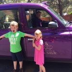 Our little girl wanted to ride in the purple car with the jump seats instead of the short bus, s
