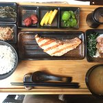 Japanese breakfast with grilled salmon
