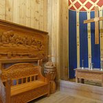 alter and wood carvings in Gol Stave church
