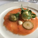 Smoked salmon with Horseradish sorbet. Excellent!!