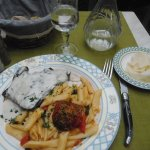 My second course: pave de boeuf with blue cheese sauce and penne pasta with roasted tomato