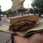 Peckinpah - pulled pork sandwich with Carolina BBQ sauce