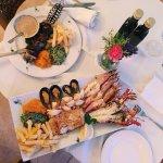 Seafood Platter and a Bushman's kebab
