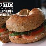 Smoked Salmon on Sun-Dried Tomato Bagel