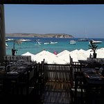View of terrace of BAIA Restaurant in Little Armier Bay.