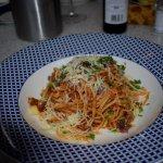 BEEF RAGÙ LINGUINE A rich beef & tomato ragù, topped with crispy prosciutto Gran Sasso