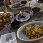 Our meal, pasta al fungi and pasta della casa! With grilled vegetables, a mezzo litro di vino!
