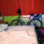 Das Rad habe ich mit ins Zimmer genommen