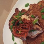 Daily special - peach glazed chicken with fried squash patties