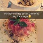 Mafalde morilles et San Daniele && Linguine vongole
