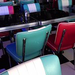 The retro 50's seating and tables