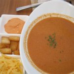 Fish soup with cheese, croutons and red aioli. Fabulous