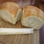 Fresh little rolls and stick of butter