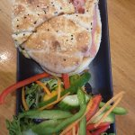 Ham, cheese, tomato and chutney pita with a side salad