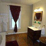A spacious bathroom awaits your stay in the Bella Luna room