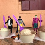 Photo op of Batman and friends digging into our awesome ice cream.