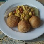 Ackee & Saltfish, fried dumplings, boiled green banana and yellow yam