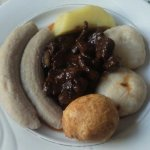 Liver, boiled green bananas, yellow yam, fried and boiled dumplings