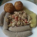 Mackerel Rundown, boiled green bananas, yellow yams and fried dumplings