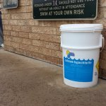This is the bucket of pool chemicals that was unsecured, next to the highly over-chlorinated poo