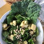 Salat mit Basilikum Pesto und Käse