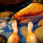 Cool feet in glacier stream