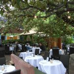 Courtyard dining in central Santa Fe