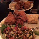 Fried chicken, chopped salad, and a delicious home baked biscuit