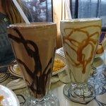 chocolate and vanilla milk shakes