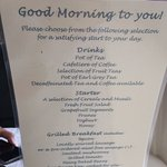 Breakfast menu with a great selection.