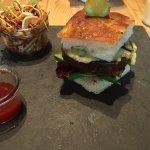 Vegan burger, Asian slaw and chilli chutney!