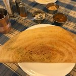 Dosa with chutney, sambar