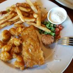 Yummy fresh cod fish and chips eith firecracker shrimp