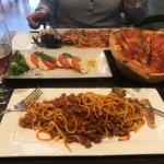 Seafood Linguini, Spaghetti Bolognese, Caprese and tomato garlic bread