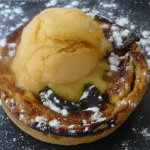Apricot tarte and apricot sorbet