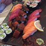 Unagi and salmon and tuna sushi
