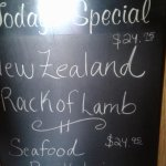 Specials of the day, $24.95 for the rack of lamb