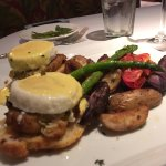 Roy's Benedict Choice of Filet Mignon or Crab Cakes – Cheddar Bacon Biscuits – Shiso Béarnaise