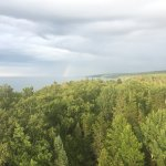View of rainbow from high atop the lighthouse.