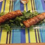 Croustillant crevette/cantal/poireaux