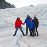 there was a crevasse on the glacier and we took a pick over it.