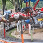 Metal Parker horses on the Lake Fairfax carousel